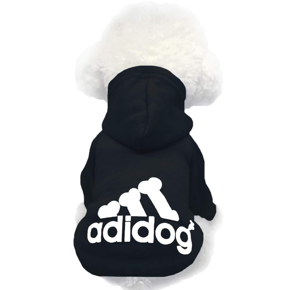 Moolecole Pet Sports Apparel Cat & Dog Cold Weather Coats Dog Hoodies Pet Sweaters (M, Black)