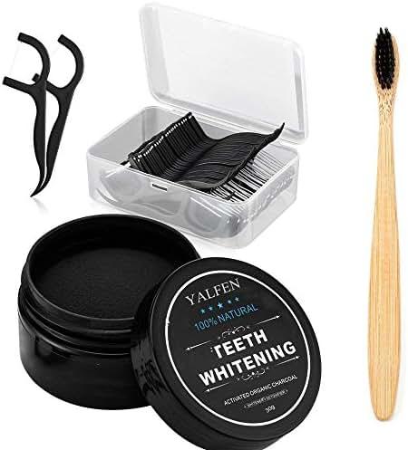 Teeth Whitening Charcoal Powder Kit, Natural Activated Charcoal Teeth Whitener Powder (1.05 oz) + Bamboo Toothbrush (1 PCS) + Dental Floss Picks (50 PCS), Oral Care Set for Your Healthier Teeth