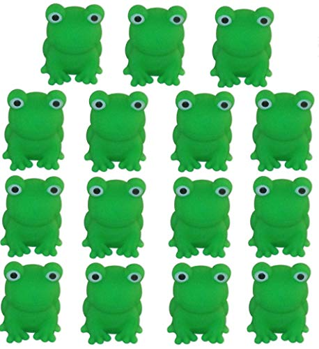 Cazenove Passover Frogs - Bag of 15 Plastic Squeaking Frogs, Soft Plastic Bright Green 10 Plague Frogs