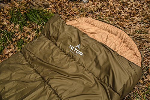 TETON Sports Regular Sleeping Bag; Great for Family Camping; Free Compression Sack 9 COMFORTABLE SLEEPING BAG: Soft lining; Half-circle mummy style hood keeps you warm and your pillow clean; Unzips on each side for airflow and easy access; For camping in three seasons NEVER ROLL YOUR SLEEPING BAG AGAIN: TETON provides a great compression sack for stuffing your sleeping bag; Start at the bottom and stuff the bag in, then tighten the heavy-duty straps STAY WARM IN COLD WEATHER: You'll be warm and rested in this sleeping bag; Innovative fiber fill, double-layer construction and draft tubes work together to keep the warmth in