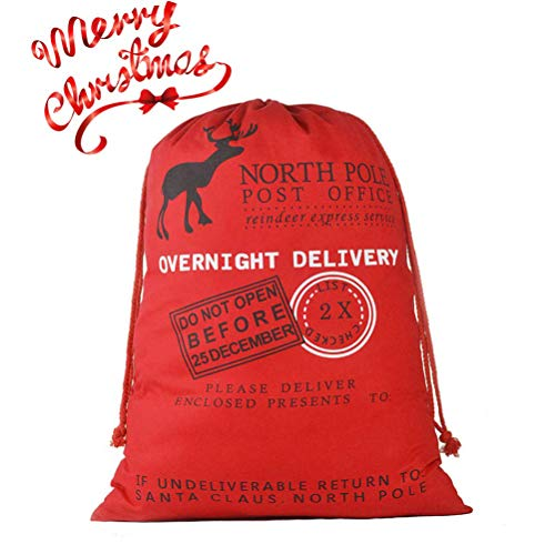 DIY Personalized Santa Sack Large Christmas Presents Sacks Bags with Drawstring 19