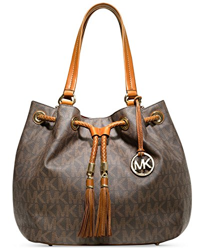 Michael Kors Jet Set Grab Bag Large Signature Monogram Drawstring Tassels PVC Brown Signature Shoulder (Jet Set Monogram)