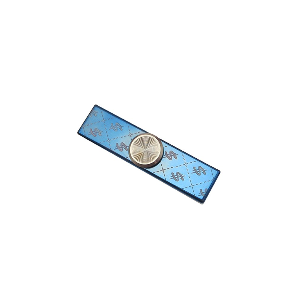 FREELOVE Titanium Alloy $ Stripe Fidget Spinner, Stainless Steel Finger Cover with Silent Steel Beads R188 Bearing,CNC Cutting Mirror Polished (Blue)