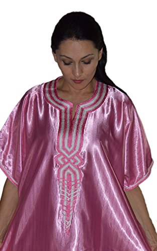 Moroccan Caftans Womens Ladies Embroidered Fits SMALL to LARGE Long Kaftan Pink
