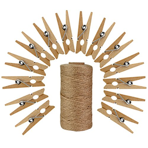 50pcs Wood Clothes Pins with 320 Feet Natural Jute Twine, Jmkcoz 3.5cm Mini Pins for Clothes Pictures Strings Clothes Pins Art Craft Photo Picture Hanging Clips Clothespins -