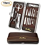 Nail Clipper Travel Set, 12 in 1 Stainless Steel Professional Nail Cutter Manicure Pedicure & Grooming Kits with Leather Case