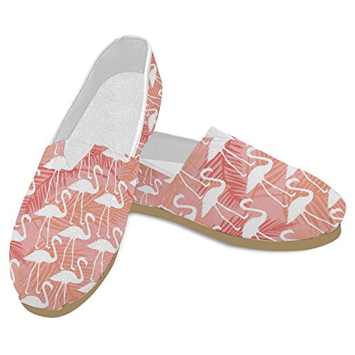 InterestPrint Women's Loafers Classic Casual Canvas Slip On Fashion Shoes Sneakers Flats Size 8 Elegant Flamingos in Vintage Style Illustration Love Romantic Animals Art Print by InterestPrint (Image #3)