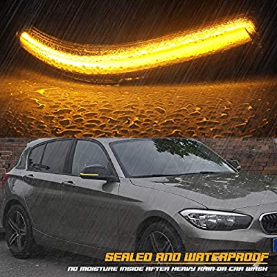 RUXIFEY Sequential LED Side Mirror Turn Signal Lights Compatible with BMW 1 2 3 4 Series F20 F21 F22 F30 F32 F33 E84 X1 i3 Smoked: Automotive