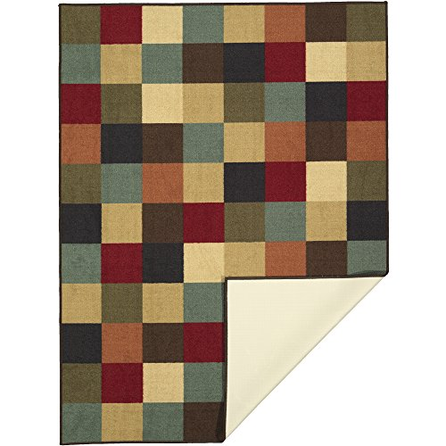 "Ottomanson Ottohome Collection Contemporary Checkered Design Non-Skid Rubber Backing Modern Area Rug, 3'3\"" X 5', Multicolor"
