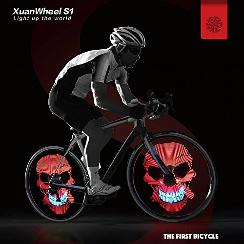 [Upgraded] Bike Wheel Lights LED Bicycle Spoke Light, USB Rechargeable Bike Light, Programmable Pics Rainproof Rim Accessory, with DIY XuanWheel APP for Night Riding