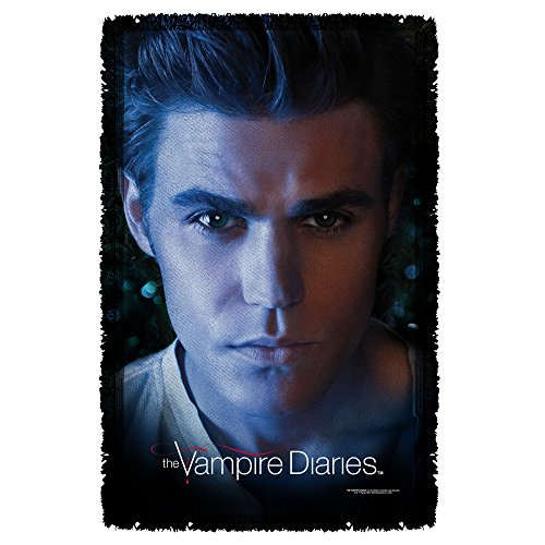 Stefan Close-Up -- The Vampire Diaries -- Woven Throw Blanket Tapestry