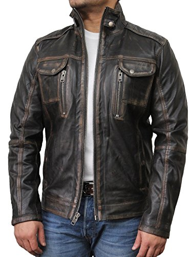 Brandslock Mens Leather Biker Jacket Black Vintage Genuine Lambskin (2XL(Fits Chest 44-46 inches), Black)
