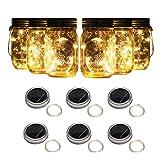 forthcan 6 pack solar mason jar lights, 10 led string fairy firefly lights lids insert for regular