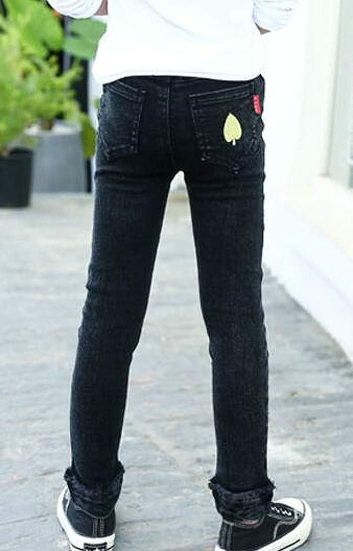 Cromoncent Big Girls Denim Thicken Fleece Jeans Legging Stretch Pants