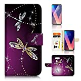 (For LG V30) Flip Wallet Case Cover & Screen Protector Bundle - A20232 Purple Dragonfly
