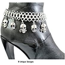 Skull Roses Boot Bracelet Bling Chain Multi Skulls on Chain Mail Motorcycle Boot Accessory Customized Jewelry