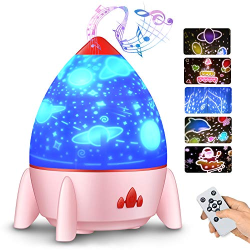 Bedside Lamp, Small Rocket Projection Lamp, Rotating Atmosphere Lamp with Starry Sky Fantasy, Rechargeable USB Lamp (Pink)