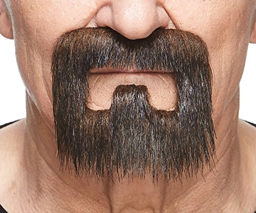 Mustaches Self Adhesive, Novelty, Inmate Fake Beard, False Facial Hair, Costume Accessory for Adults, Brown Color -