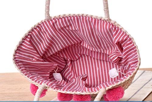 Bandoulière Haute Bleu Laine Panier Plage Meaeo Pink Ball À Femmes Novetly Bohème Qualité Sac Paille Sac Dropshopping Nouveau Hot xwx7qpF