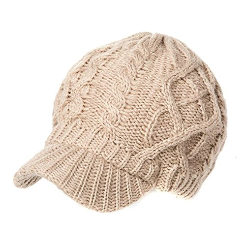 (Siggi Wool Thick Knit Winter Hat for Women Newsboy Snow Cap Billed Beanie with Brim)