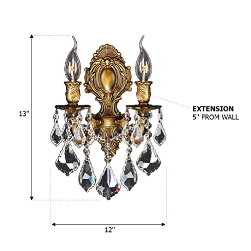 Worldwide Lighting W23313B12 Versailles 2 Light Candle Wall Sconce, Antique Bronze Finish and Clear Crystal, Medium Fixture, 12'' W x 13'' H by Worldwide Lighting (Image #1)