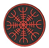 Aegishjalmr Viking Helm of Awe Terror ProtectionEmbroidered Patch Iron-on or Sewn Military Morale Series Emblem Badge DIY Appliques Application Patches Cloth Fabric Badges Cap Bag Jackets