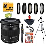 Sigma 17-70mm F2.8-4 DC OS HSM Contemporary Lens with UV, CPL, FLD, ND4,+10 Macro Filters and Bundle for Canon EOS 70D, 60D, 60Da, 50D, 7D, 6D, 5D, 5Ds, Rebel T6s, T6i, T5i, T5, T4i, T3i, T3, T2i and SL1 Digital SLR Cameras