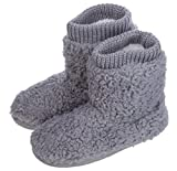 MIXIN Women's Warm Faux Fleece Fuzzy Indoor Outdoor Slipper Boots Shoes Grey 7-8 M US