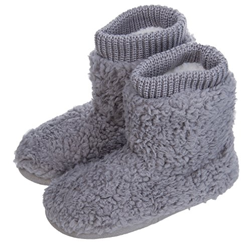 MIXIN Women's Warm Faux Fleece Fuzzy Indoor Outdoor Slipper Boots Shoes Grey 7-8 M US by MIXIN