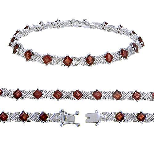 Sterling Silver Garnet Bracelet (3.10 CT)