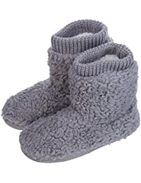 Women's Comfort Warm Faux Fleece Fuzzy Ankle Bootie Slippers Plush Lining Slip-on House Shoes Anti-Slip Sole Indoor/Outdoor