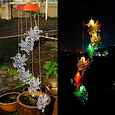 Tfu Angel Solar/USB Powered Wind Chimes Light, Color Changing LED Wind Spinner Solar Mobiles Light for Home Yard Garden Patio Garden Decoration and Festival Valentins Xmas Gift