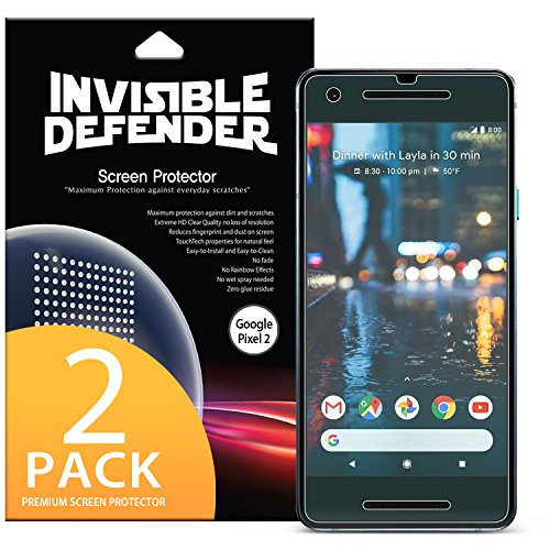 Google Pixel 2 Screen Protector, Invisible Defender [Full Coverage][2-Pack] Edge to Edge Curved Side Coverage Guaranteed [Case Compatible] Super Thin HD Clearness Film