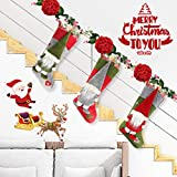 "Aiduy Set of 3 Christmas Stockings 18"" with Cute 3D Plush Swedish Gnome Xmas Stockings for Fireplace Hanging Christmas Decorations and Party Decor"