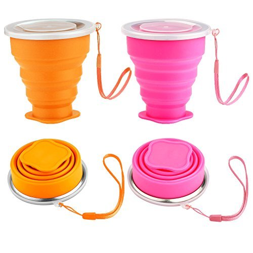 Accmor Silicone Collapsible Drinking Cup Set, 2 Pack Foldabl