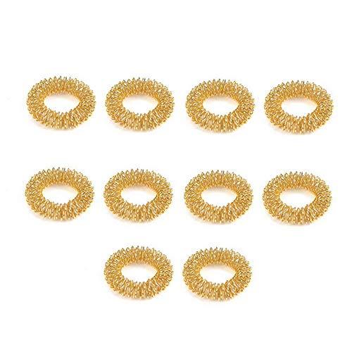 (Rhame 10Pcs Finger Massage Ring Acupuncture Health Care Body Acupressure Massager New   Model RNG - 8095   10pcs Gold)