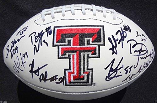 2012-13 TEXAS TECH RED RAIDERS TEAM SIGNED LOGO FOOTBALL ERIC STEPHENS COA J1