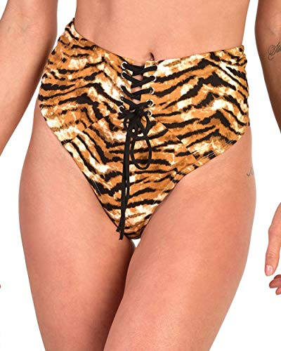 (iHeartRaves Rawr Tiger Stripe Lace Up Thong Booty Shorts (Brown,)