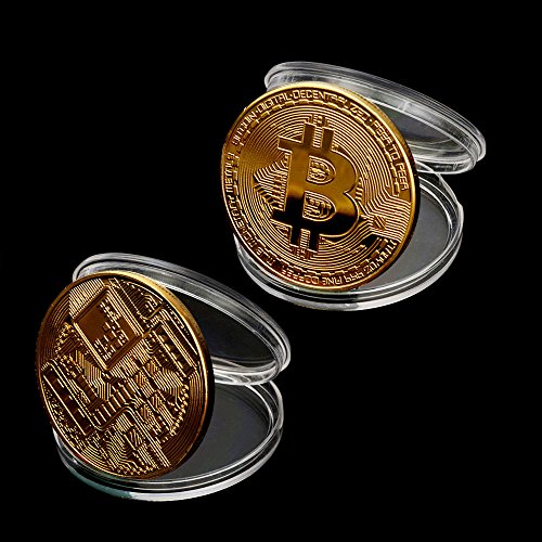 OutTop 10Pcs Art Gold Plated Bitcoin Collection Coin Home Room Office Decoration (Gold)