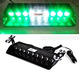 Wecade® 9 Led 9w Car Truck Strobe Windshield Dash Lights 16 Pattern Super Bright for EMS Law Enforcement Warning LED Strobe Lights (Green/White/Green)