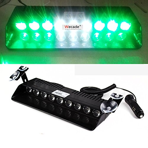 (Wecade® 9 Led 9w Car Truck Strobe Windshield Dash Lights 16 Pattern Super Bright for EMS Law Enforcement Warning LED Strobe Lights (Green/White/Green))