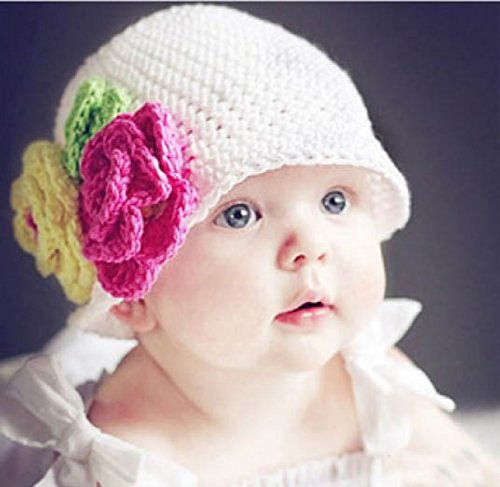 Demarkt Baby Cap Handmade Knit Crochet flowers Hat Cap Toddler Girl