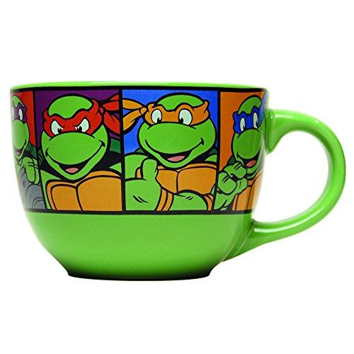 Silver Buffalo NT8424 Teenage Mutant Ninja Turtles Characters Grid Ceramic Soup Mug, 24 oz, ()