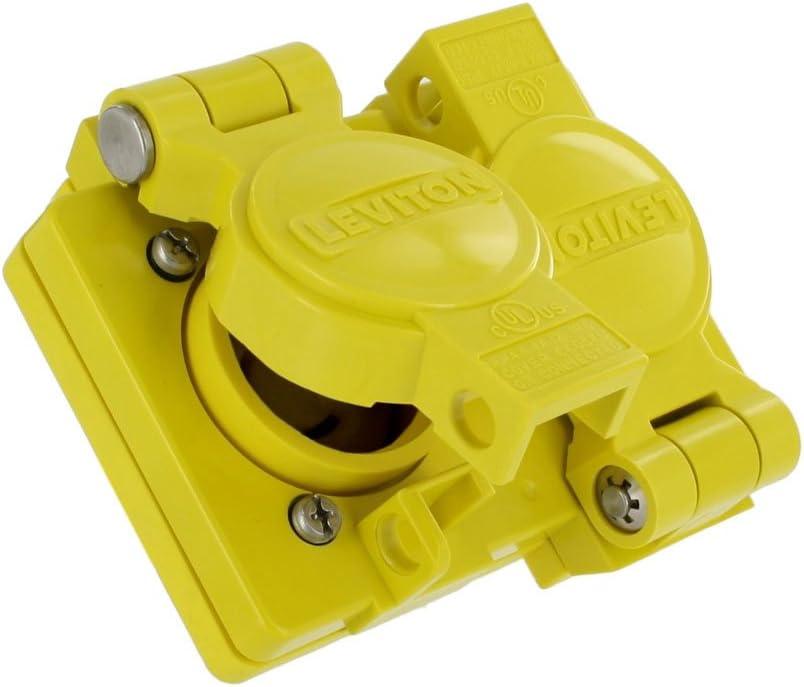 250 Volt Leviton 85W07-D 15 Amp 125 Volt // 10 Amp Industrial Grade Yellow 3P Non-NEMA Wetguard 3W Locking Duplex Outlet Non-Grounding