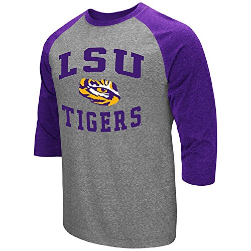 Colosseum Men's NCAA-Raglan-3/4 Sleeve-Heathered-Baseball T-Shirt-LSU - 3/4 Football Sleeve