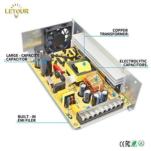 LETOUR DC 12V Power Supply 40A 500W AC 96V-240V Converter DC 12Volt 40Amp 500Watt Adapter LED Power Supply for LED Lighting,LED Strip,CCTV by LETOUR (Image #2)