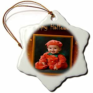 3dRose Susan Brown Designs Halloween Holiday Themes - Pumpkin Baby - 3 inch Snowflake Porcelain Ornament (orn_24175_1)