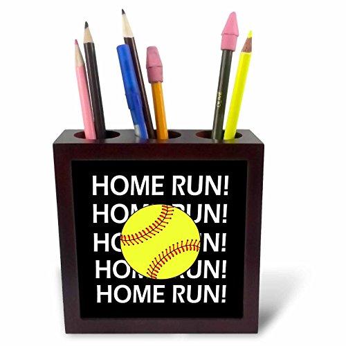 3dRose RinaPiro Sport Sayings - Home Run. Softball. - 5 inch Tile Pen Holder (ph_282856_1)