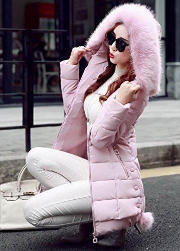 Slim Collar Larga Fit Cuello Piel Capucha Pelaje de Abrigo Rosa Con Espesar Sintético Parka Manga Mujer AwdI4A