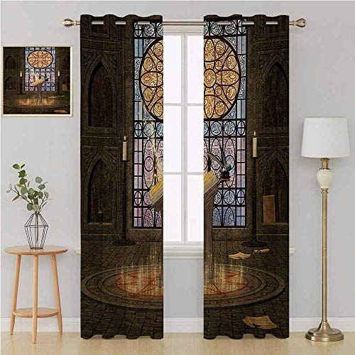 Gothic grummet Curtain Blackout Curtains Panels for Bedroom,Lectern on Pentagram Symbol Medieval Architecture Candlelight in Dark Altar Drapes Panels 96 by 108 Inch Olive Green Mustard